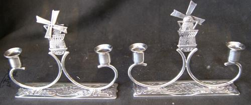 Vintage Pair of Silver Plated Candle Stick Holders
