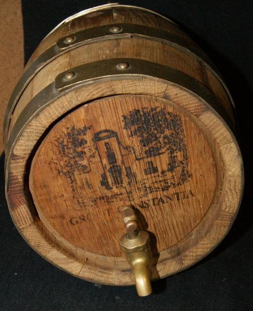 Vintage Groot Constantia Solid Wood and Brass Banded Wine Cask