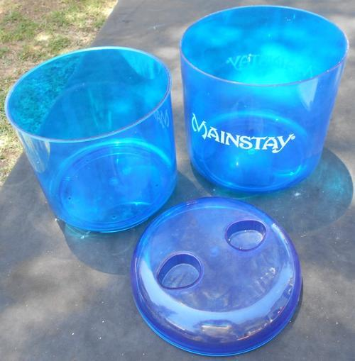 Vintage Mainstay Cane Bright Blue Perspex Ice Bucket