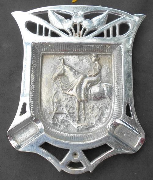 Vintage Solid Chrome Plated Ashtray with Horse Detailing