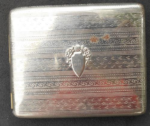 Vintage Engine Turned Silver Tone Metal Cigarette Flip Case