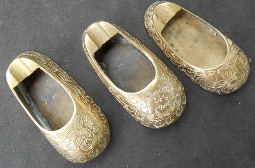 Vintage Solid Brass Decorative Slipper Ashtrays