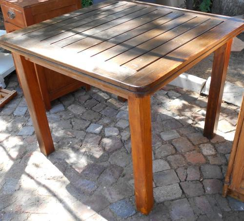 Solid Teak Slatted Square 4 Seat Table