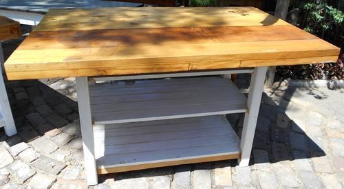 Tables large oregon thick top rectangular kitchen island for Kitchen island johannesburg
