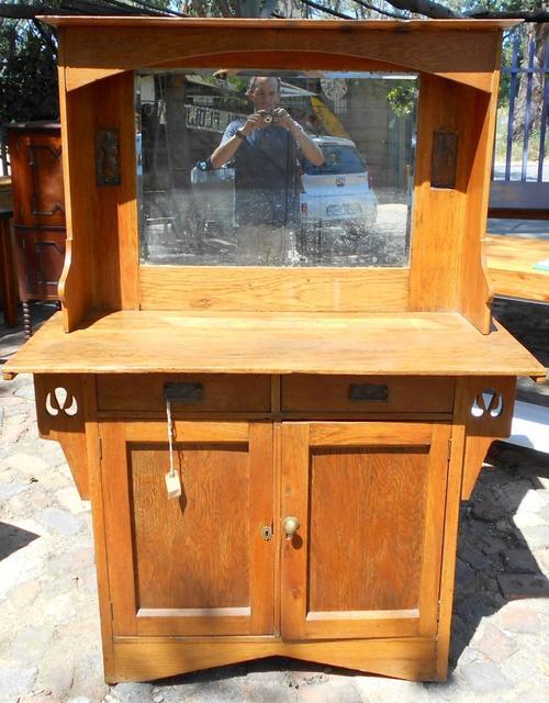 Vintage Art Nouveau Oak Mirrored Side Board or Koskas
