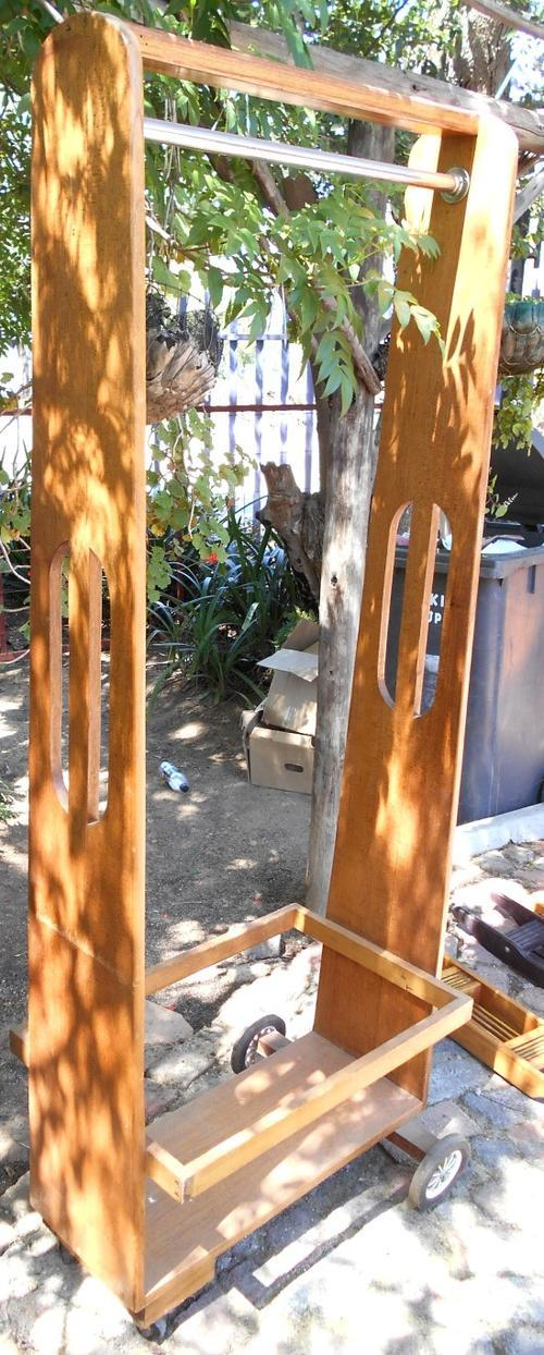 Vintage Tall Hanging Clothes Stand on Casters
