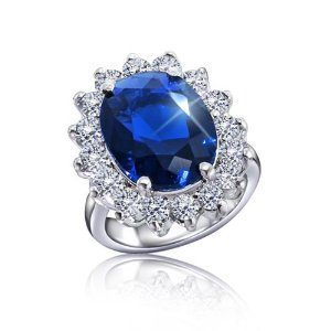 Kate Middleton Diana Royal Engagement Ring ~~~~High Quality Oval Blue Ring~~~~ Replica