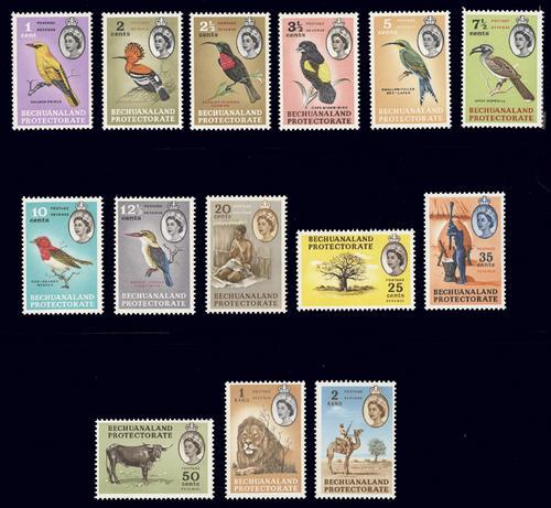 Bechuanaland Poretectorate, 1961, Sc#180-93(14), MLH, Bird Stamps