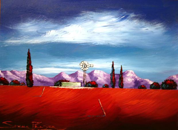 Original painting by stella pelser windpomp in die boland 01 400