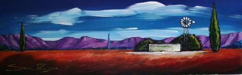 Original painting by stella pelser karoo landskap met windpomp 475