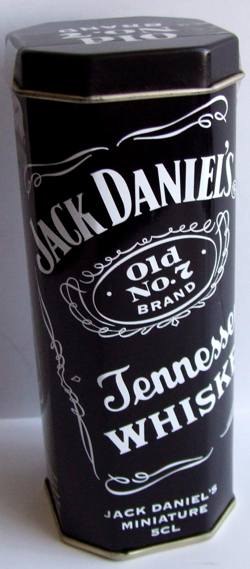 bar accessories scarce jack daniels single mini tin with full sealed miniature bottle was sold. Black Bedroom Furniture Sets. Home Design Ideas