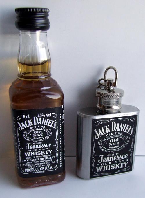 bar accessories jack daniels branded 1oz stainless steel keyring flask and full miniature. Black Bedroom Furniture Sets. Home Design Ideas