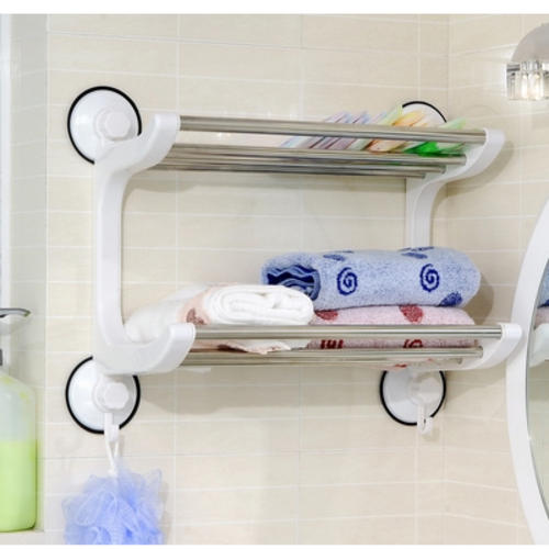 Towel hooks rails space saving double layer towel rack was sold for on 19 sep at 22 - Towel racks for small spaces concept ...