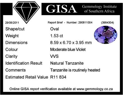 GISA CERTIFIED TANZANITE