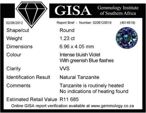 CERTIFIED TANZANITE  GISA CERTIFIED EGL GIA
