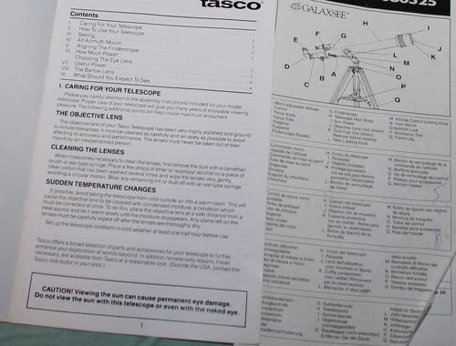 tasco galaxsee telescope instruction manual