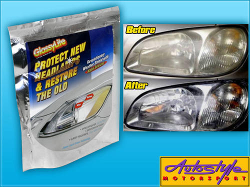 GlassyLite Headlight Restoration Kit  Protect &amp; Restore your headlights  Glassylite is trusted by professional and is now available in DIY Form. 3 simple steps: Clean, Polish &amp; Protect!  Each Kit includes contents to treat 2 headlights  includes: - 1 x 1500 sandpaper - 1 x 3000 sandpaper - 2 packs ACE cleaner - 5pc's paper towels - 2packs Hyper Shine (to shine your lamps) - 1 bottle Nazno Sealent to protect your lamps