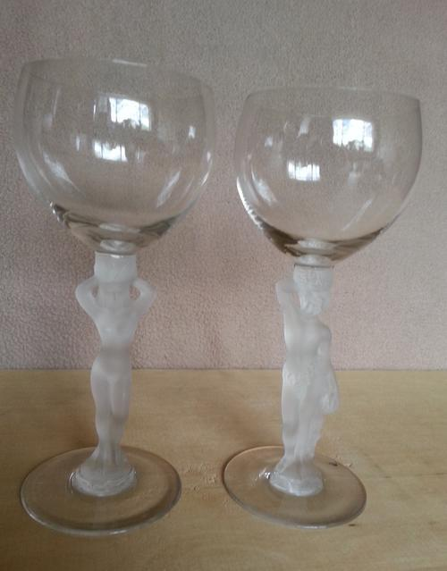 Vintage Bayel Wine Glass - Frosted Female Nude Stem - Sexy