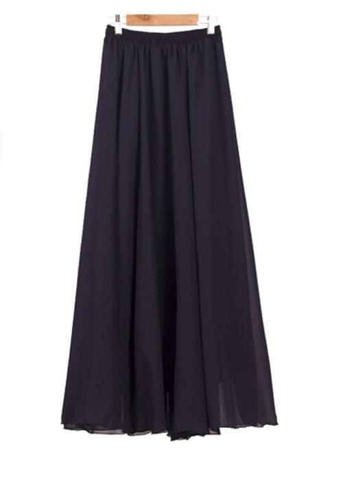 skirts skirt navy chiffon fully lined mini to maxi