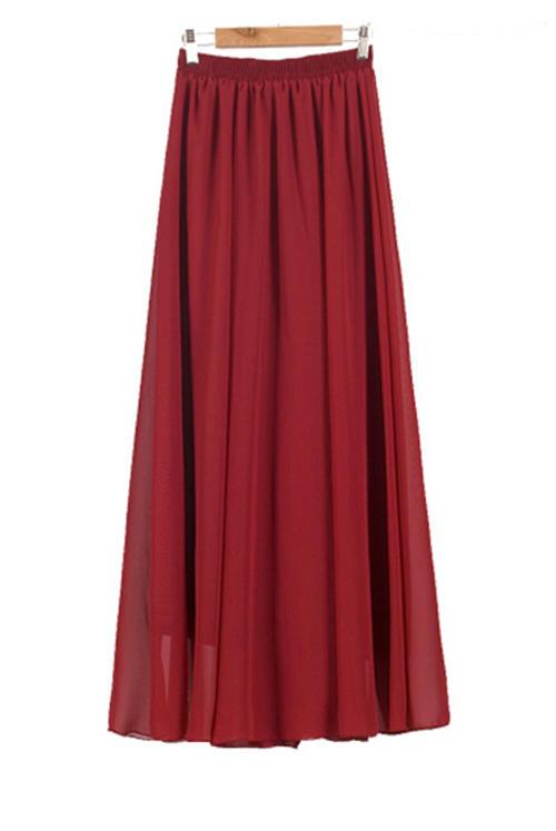 skirts skirt wine chiffon fully lined mini to maxi