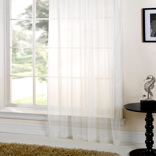 Net curtains plain sheer voile curtain 5m x 230cm for Window voiles
