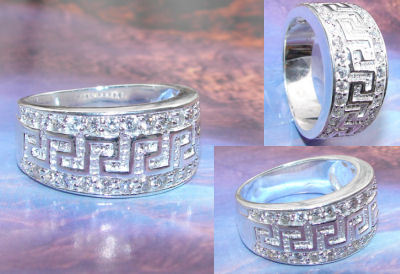 Elegant Versace Rings With Silver And Diamond