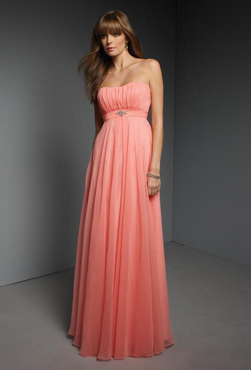 Formal Dresses - Salmon pink grey chiifon lace up back off ...