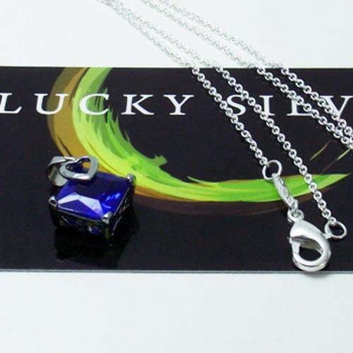 Ocean Blue Cubic Zirconia Pendant & Silver Necklace