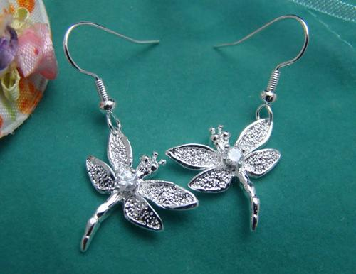 Silver Cubic Dragonfly Earrings