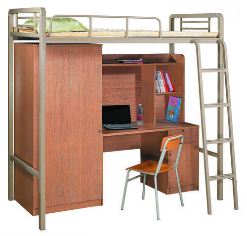Beds Metal Bunk Bed With Office Desk And Wardrobe At The