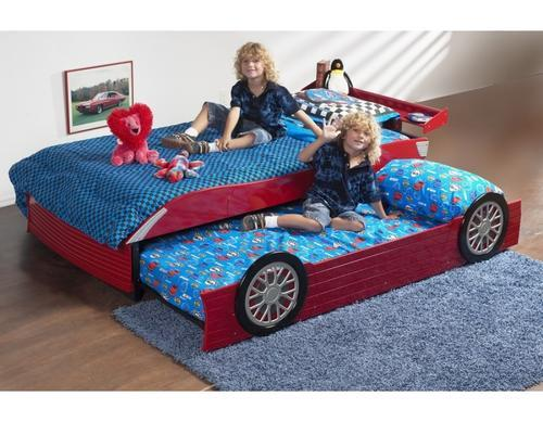 Beds Kids Single Race Car Bed With Pull Out Guest Bed