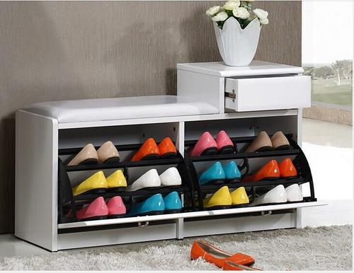 this stylish shoe storage ottoman will be a great accent piece for the foot  of your bed hallway or wherever you need extra storage space - Shoe Storage Ottoman. Hidden Wall Rack And Ottoman For Keeping