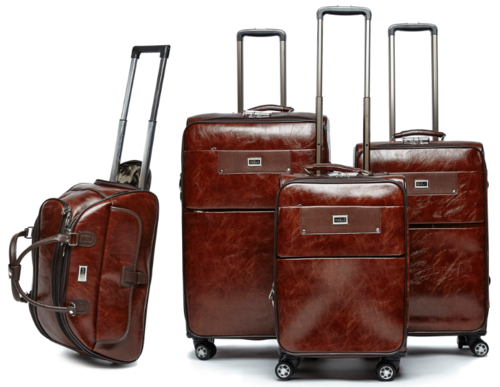Luggage Sets - 4 Piece PU Leather Vintage Trolley Luggage Bag Set ...