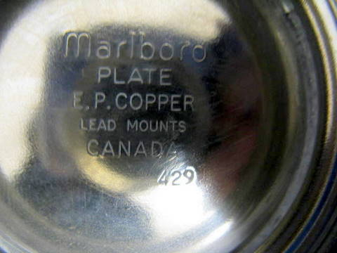 EP Copper Lead Mounts http://www.bidorbuy.co.za/item/17079951/6_PIECE_MARLBORO_PLATE_E_P_COPPER_LEAD_MOUNTS_CANADA_SEE_DESCRIPTION.html