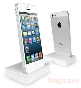 chargers new white desktop table top charger cradle docking station for apple iphone 5 5s 5c. Black Bedroom Furniture Sets. Home Design Ideas