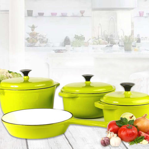 cookware sets rystel seven cast iron enamel cookware pot set was sold for r1 900 00 on