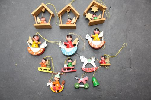 13 SMALL WOODEN HAND PAINTED CHRISTMAS