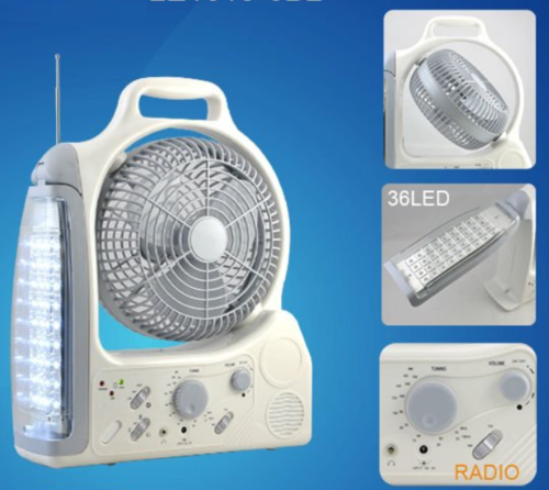 Camping 5 In 1 Rechargeable Fan 36 Led Emergency Light