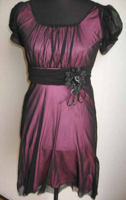 Very Feminine Pink and Black Dress. Great for any occasion - Day or Evening