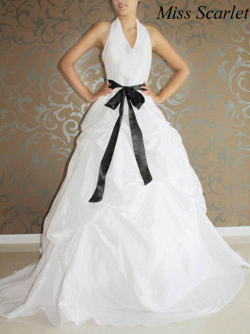 STRIKING WHITE HALTERNECK WEDDING GOWN WITH BLACK SASH