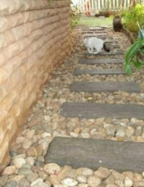 ROMAN PAVERS, SPECKLED PEBBLES AND TREATED LOG COURT YARD