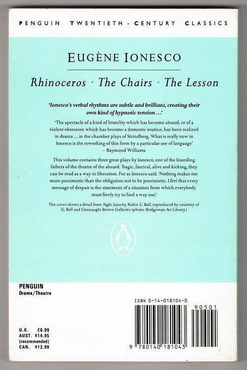 a review of the book rhinoceros by eugene ionesco Writer: eugene ionesco adapter: zinnie harris director: murat daltaban reviewer : gareth davies there is much in the modern world that we.