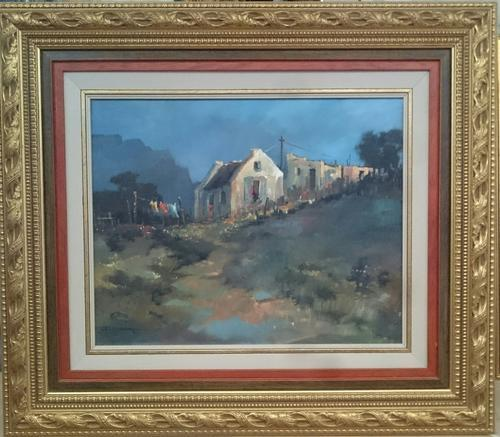 Paintings  Original oil painting by JOHANN VAN RENSBURG was listed for R4,95 # Wasbak Frame_071949