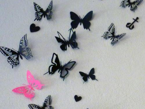 Wall Decals3D card paper butterflies wall art scrap booking