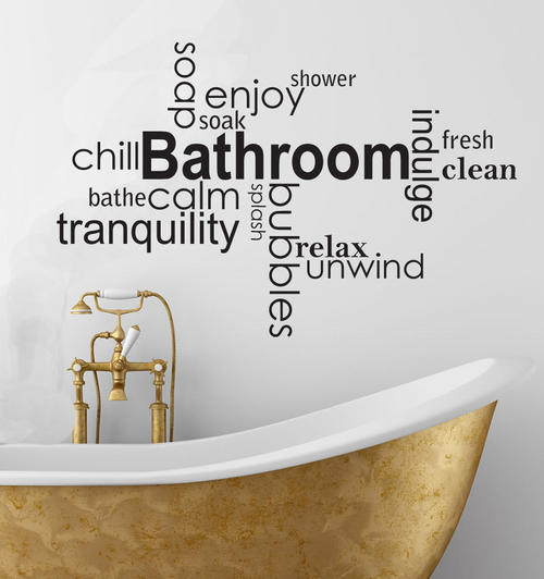 Wall decals soothing bathroom vinyl wall art words for Bathroom quotes svg