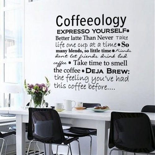Wall decals matte dark grey vinyl coffee kitchen office Art for office walls