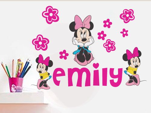 Wall Decals Customised Minnie Mouse With Name Vinyl Wall