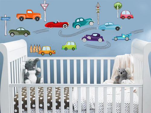 Wall decals kiddies cartoon car wall vinyl stickers decal to decorate childrens room was - Images of kiddies decorated room ...