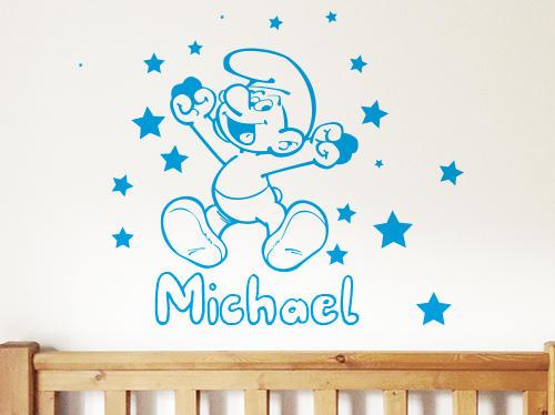 wall decor smurf custom kids baby toddler wall stickers