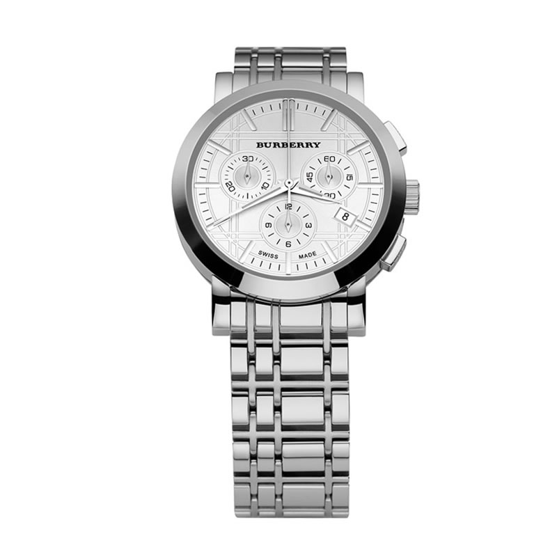 men s watches low start bid burberry men s bu1372 heritage this burberry watch features a stainless steel bracelet and round case etched dial silvertone stick indices logo date window and three subdials
